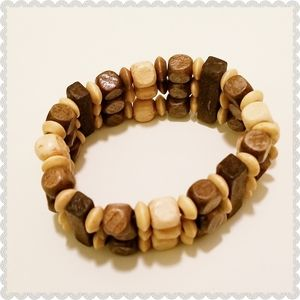 Wood Beads 3-Tiered Tribal Stretchable Bracelet